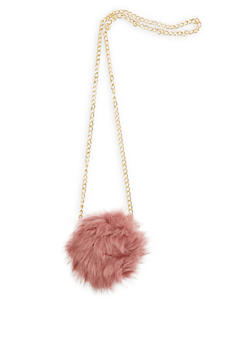 Convertible Round Faux Fur Ring Clutch - 3124067441407