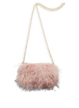 Faux Fur Clutch with Removable Chain Strap - 3124067441507