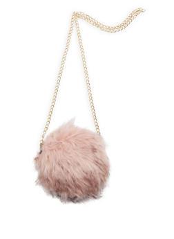 Round Long Faux Fur Crossbody Bag - 3124067441607
