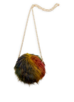 Round Long Faux Fur Crossbody Bag - 3124067441607