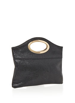 Textured Faux Leather Metal Handle Clutch - 3124067442007