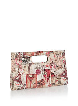Paris Print Clutch with Cutout Handles - 3124067443106