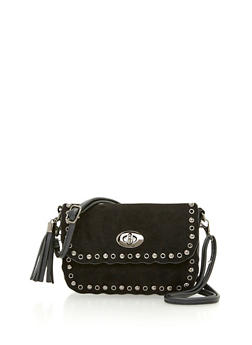 Faux Suede Crossbody Bag with Metal Accents - 3124067445070