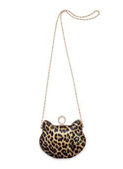 Leopard Print Cat Crossbody Bag - 3124067447001