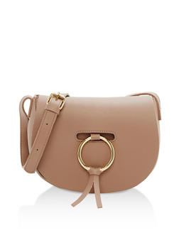 Faux Leather Crossbody Saddle Bag - 3124067447002