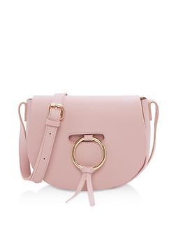 Faux Leather Crossbody Saddle Bag - 3124067447002