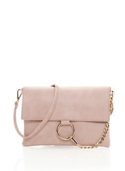 Flap Crossbody Bag with Metal Ring - 3124067447003
