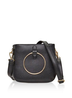 2 Ring Faux Leather Crossbody Bag - 3124067447006