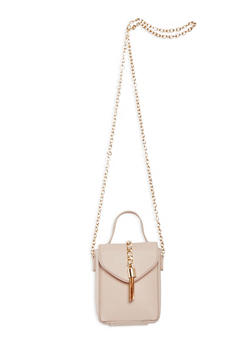 Mini Faux Leather Crossbody Bag with Chain Link Strap - 3124067447007