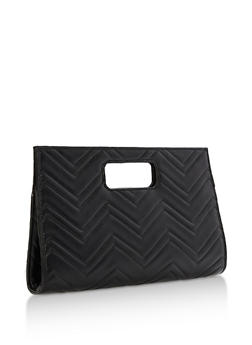 Embossed Chevron Print Cutout Handle Clutch - 3124067447008
