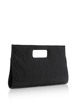 Rose Embossed Cutout Handle Clutch - 3124067447009