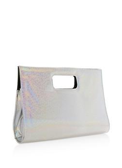 Textured Iridescent Cutout Handle Clutch - 3124067447011