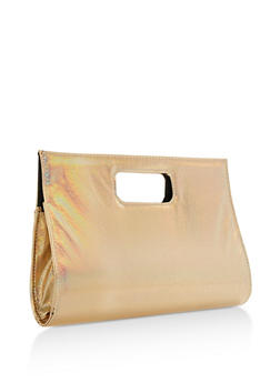 Textured Iridescent Cutout Handle Clutch - 3124067447011