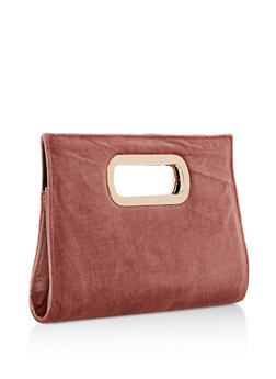Velvet Clutch with Cutout Handles - 3124067447013