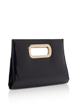 Faux Patent Leather Clutch with Cutout Handles - 3124067447014