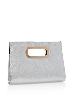 Glitter Metal Handle Clutch - 3124067447015
