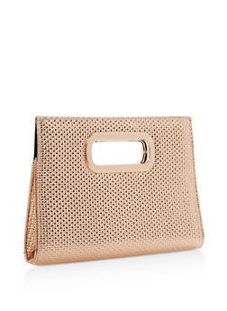 Woven Textured Clutch with Cutout Handles - 3124067447016