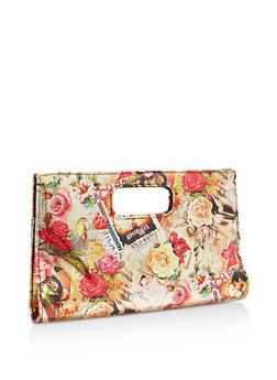 Floral Printed Clutch - 3124067447021