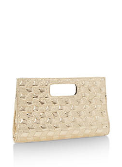 Embossed Faux Leather Clutch - 3124067447022