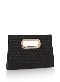 Embossed Faux Leather Clutch with Metal Accent - 3124067447023