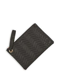 Faux Leather Chevron Clutch with Wrist Strap - 3124067447025