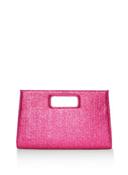 Crinkled Clutch with Cut Out Handle - 3124067447028
