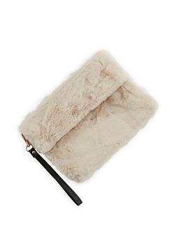 Faux Fur Fold Over Clutch - 3124067447029