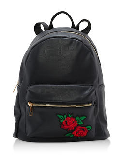 Faux Leather Backpack with Rose Patch - 3124067447070