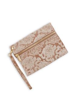 Floral Velvet Zipper Wristlet - 3124067447076