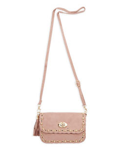 Mini Faux Suede Studded Tassel Bag - 3124067447500