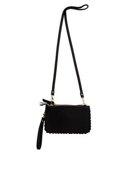 Faux Leather Stitched Edge Crossbody Bag - 3124067447744