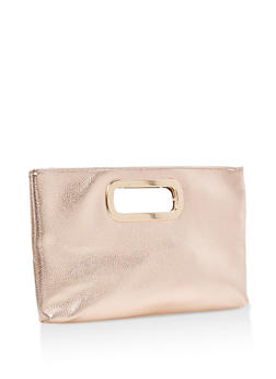 Faux Leather Clutch with Metal Handles - 3124067447777