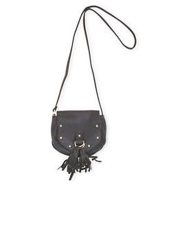 Faux Leather Studded Crossbody Bag with Tassels - 3124073400854