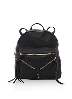 Faux Leather Backpack - 3124073401014