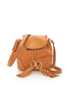 Faux Leather Crossbody Bag with Metal Ring Tassels - 3124073401120