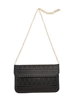Lasercut Faux Leather Chain Crossbody Bag - 3124073401130