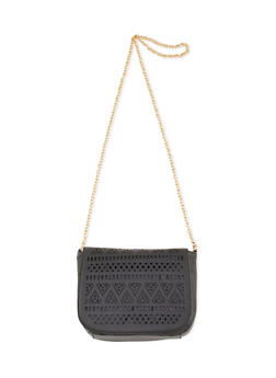 Lasercut Faux Leather Crossbody Saddle Bag - 3124073401140