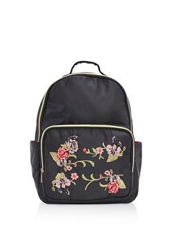 Floral Embroidered Nylon Backpack - 3124073401187