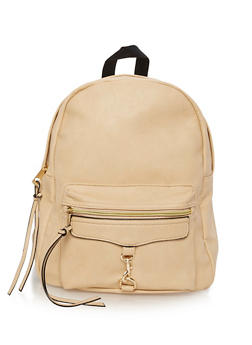 Faux Leather Backpack with Metal Bit - 3124073403184