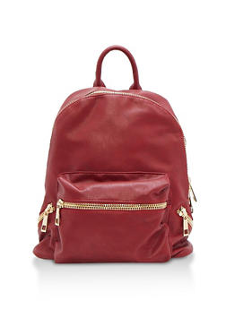 Textured Faux Leather Backpack - 3124073406060