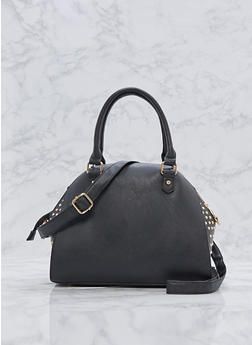 Studded Faux Leather Bowler Bag - 3124073406078