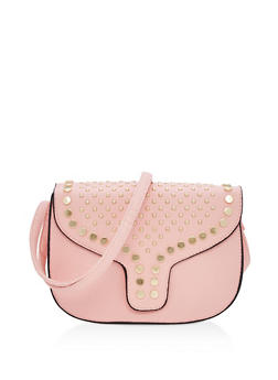Medium Faux Leather Studded Saddlebag - 3124073407020