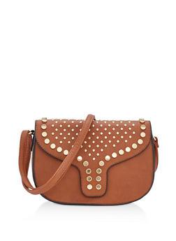 Medium Faux Leather Studded Saddlebag - 3124073407020