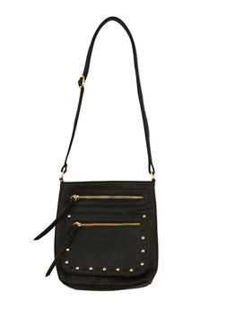 Faux Leather Studded Crossbody Bag - 3124073407025