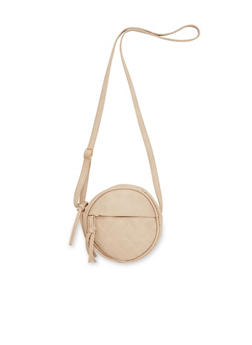 Faux Leather Crossbody Bag with Quilted Paneling - 3124073407903