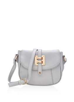 Faux Leather Saddlebag with Metallic Accent - 3124073408704