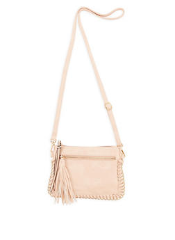 Faux Leather Chain Stitch Crossbody Bag - 3124073409180