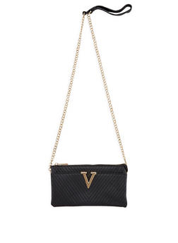 Faux Leather Chevron Crossbody Bag - 3124073892061
