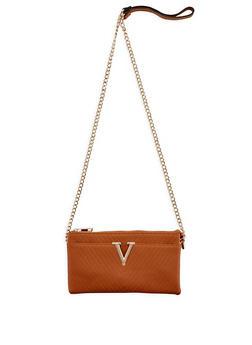 Faux Leather Chevron Crossbody Bag - 3124073892061
