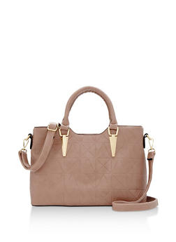 Faux Leather Embossed Handbag with Removable Strap - 3124073892063
